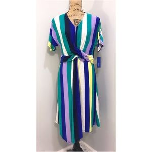 ❌SOLD❌NWT Apt 9 Multi Stripe Assymetrical Dress